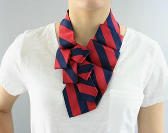 Necktie Scarf  - Work Wear - Gift For Her - Fabric Necklace - Hipster Clothing - Memorial Gift - Red and Navy Striped Lauren Scarf. 16
