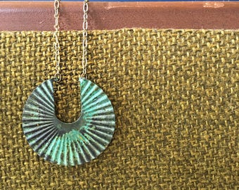 Patina Crescent Fan Necklace brass chain