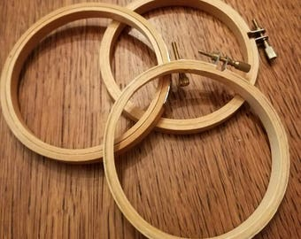 Set of 3 Four Inch Wooden Embroidery Hoops
