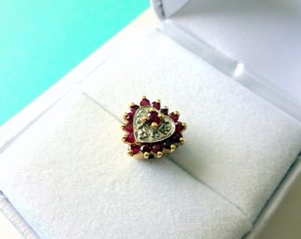 14tk Gold Ruby and Diamond Solid Back Heart Slide