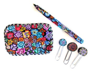 Tin trinket box with pen and clips or bookmarks Millefiori polymer clay design T33