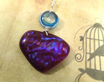 Brave Heart Fused Glass Pendant, Dichroic Jewelry