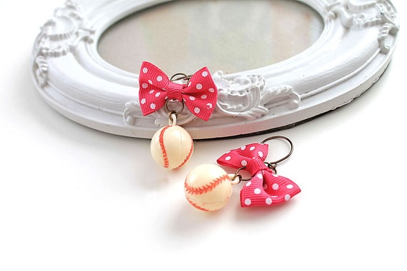 Kawaii baseball ball  earrings with bow lolita sweet fairy kei retro vintage