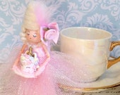 Marie Antoinette doll ornament and tea cup pink and gold with unicorn cake party decor vintage retro inspired art doll tea party decor