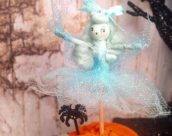 Ghost cake pick halloween vintage retro inspired apparition ghastly ghost girl doll cake topper party decor