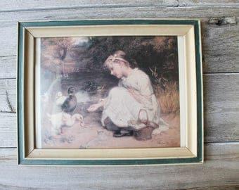 Vintage Farmhouse Print, Girl Feeding ducks, Vintage Art, Outdoor Print, Vintage Framed Art, Vintage wall decor, framed print, Victorian