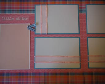 2 Little Sister Big Sister Girl  12x12 Premade Scrapbook Pages for your family