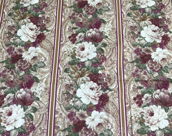 2 Yards of Purple, Off White and Paisley Print Cotton Fabric