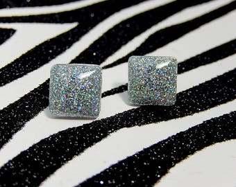 Silver Square Stud Earrings, Holographic Earrings, Soft Grunge, Pastel Goth, Iridescent Posts