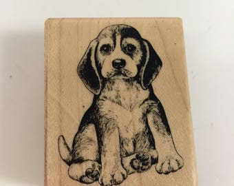 Dog Rubber stamp, wood mounted, Beagle stamp realistic puppy stamp made in USA time