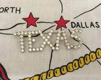 Texas Brooch Imitation Diamond Clear Rhinestones Vintage Brooch Pin City Logo Pin