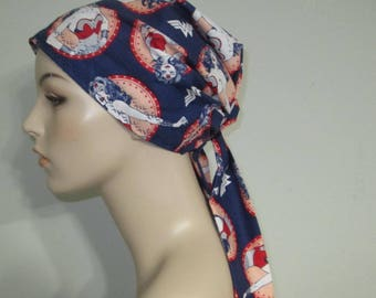 Wonder Woman  in Navy Chemo Scarf, Hat, Cancer Hat,  Alopecia, Head Cover