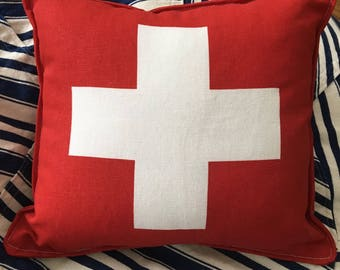"""Ski Patrol First Aid Swiss Army small accent pillow about 10.5"""" X 9.5"""" red white"""
