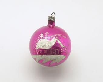 Vintage Christmas Ornament Pink Glass Cottage