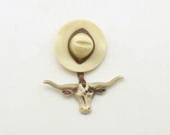 Vintage Longhorn Pin Country Western Cowboy Hat Brooch