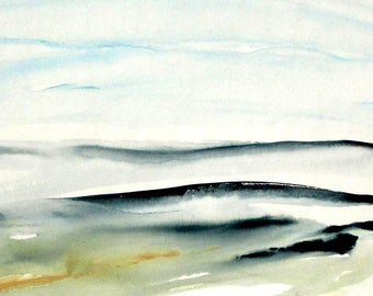 Original Abstract Landscape Watercolor, Contemporary Landscape Watercolor, Modern Contemporary Watercolor painting, blue green abstract.