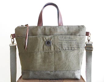Military waxed canvas, leather crossbody tote, laptop bag - eco vintage fabrics