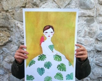 Sale Large print of Monstera girl