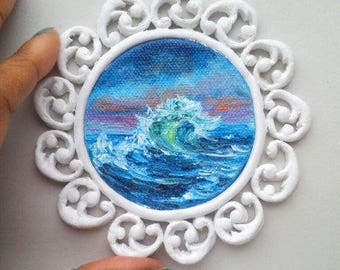 """Mini Oil Painting Wave at Night Seascape with Handmade Frame 2.5"""" READY to SHIP"""