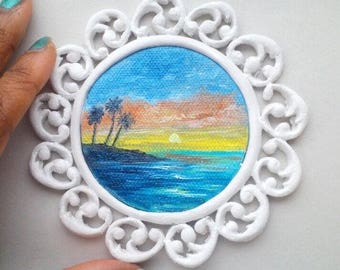 """Mini Oil Painting Night Seascape Coconut Trees with Handmade Frame 2.5"""" READY to SHIP"""