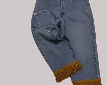 Cropped Vintage Levi Jeans with Cotton Fringe Trim 38 waist