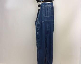 Vintage Weathered   Bibbed Cropped  Denim Overalls XL