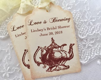 Tea Party Tags, Teapot Favor Tags, Love is Brewing Tags, Bridal Tea Party Tags, Set of 10