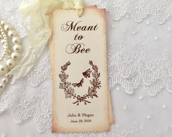 Bee Wedding Bookmarks, Bee Bookmark Favors, Set of 10