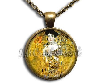 25% OFF - Klimt's Adele Bauer Glass Dome Pendant or with Chain Link Necklace  AP121