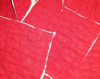 Antique Red Quilt Pieces | Vintage Red Quilt Pieces |  Old Red Cutter Quilt Pieces | 6 Red Cutter Quilt Pieces