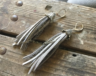 Leather Tassel Earrings Gray Silver Chain Long Boho Gypsy
