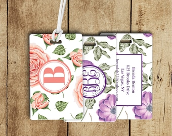 Pastel Flower Luggage Tag, Monogram Luggage Tag,  gift for traveler, personalized gifts, gifts for her, gym bag tag, backpack tag