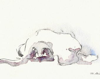 Crawling Blue Yoga or Dance Figure, Original Ink and watercolor on Paper, 5x7, Yoga Figure, Gift for Dancer, Gift for Yogi,