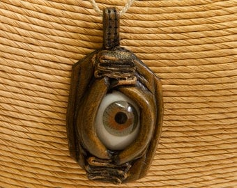 Vintage Eyeball Necklace Brown Eye Pendant FREE US SHIPPING
