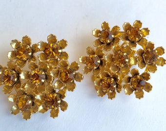 Coro Topaz Flower Cluster Vintage Earrings