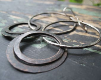 Misplaced - Large Mixed Metal Hoops Hand Forged Reclaimed Copper Dangles Jane Plain Raw Organic Roots Talisman Jewelry