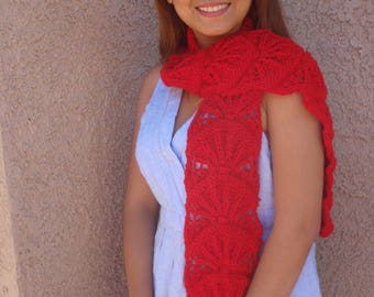 Long red scarf, red knit scarf, knitted scarf, woman's scarf, winter scarf, bright red, hand knit scarf, warm scarf, ski, gift, pretty scarf
