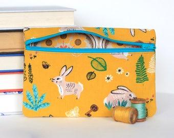 Yellow Bunny Zipper Bag Rabbit Zipper Pouch Wild Hare