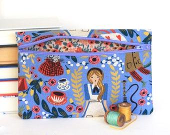 Alice in Wonderland Pencil Bag Rifle Paper Co Makeup Bag Handmade Zipper Pouch