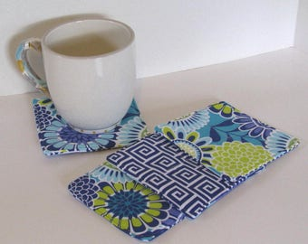 Fabric Coasters Set , Blue Mod Flower , Blue Tiles , Quilted Coasters, Mug Rug, Reversible, Bridal Gift, Mix and Match Option