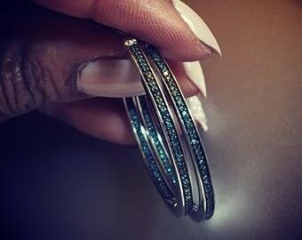Blue diamond pave inside out hoop earrings