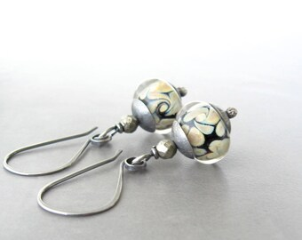 lampwork glass dangle earrings, silver earrings, oxidized jewelry, rustic earrings, boho black dangle earrings
