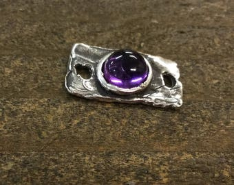 Amethyst AA Cabochon Rectangle  Link Sterling Silver