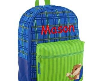 Personalized Backpack Monkey, Quilted, Stephen Joseph Boys Rucksack, Monogrammed, Toddler Boy, Preschool