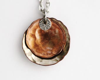 Coin Necklace Pendant, Hammered U.S. Penny and Quarter, Layered Coins, Sustainable Handcrafted Repurposed Unisex Jewelry by Hendywood