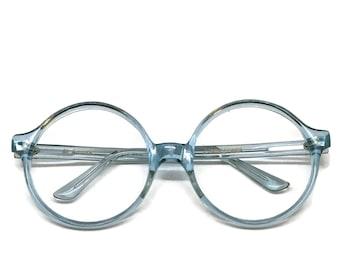 Large Round Eyeglass Frames | Round Blue Frames | Vintage Eyeglasses | 70s Eyeglasses