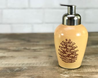 Amber soap dispenser. Amber glazed, pine cones. Foaming soap dispenser. Ceramic foaming dispenser. Handmade.  Brushed nickel pump. Nature