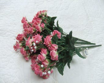 Mini Silk Roses Flowers 2 Bunches W/Wired Stems Pink Cottage Shabby