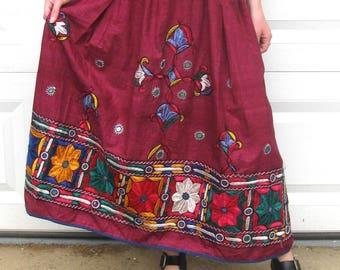 folk skirt . Indian skirt ,  embroidered folk skirt . hippie skirt . boho skirt . embroidered cotton skirt