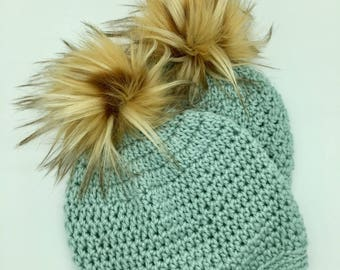 Adult // Baby // Crochet Hat // Pom Pom // Spa Blue // Off White // Butterscotch Pom